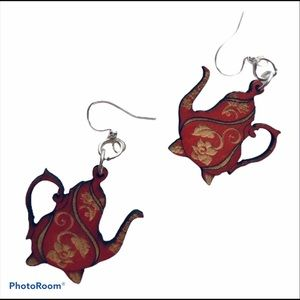 Green Tree Earrings Small Red Wood Teapot Dyed